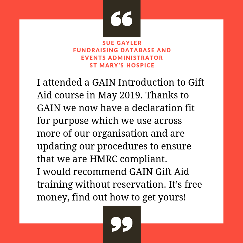 Feedback on Gift Aid course