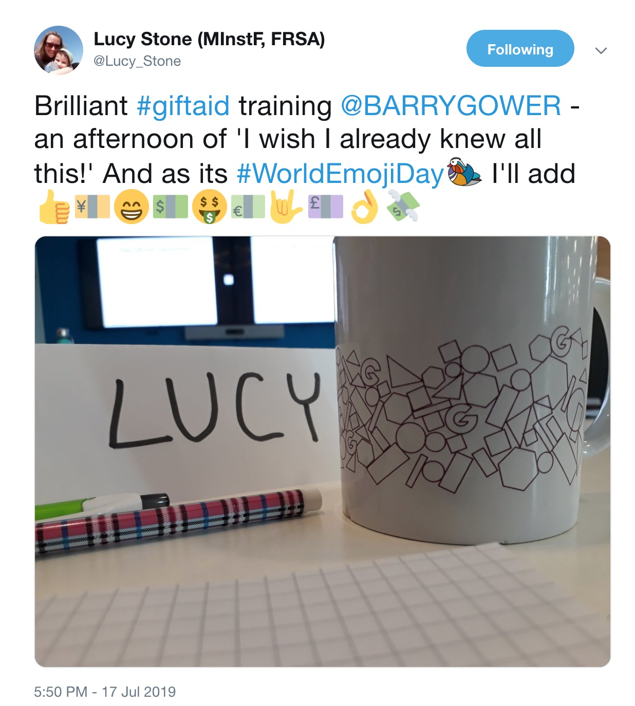 Feedback on Gift Aid course by Lucy Stone