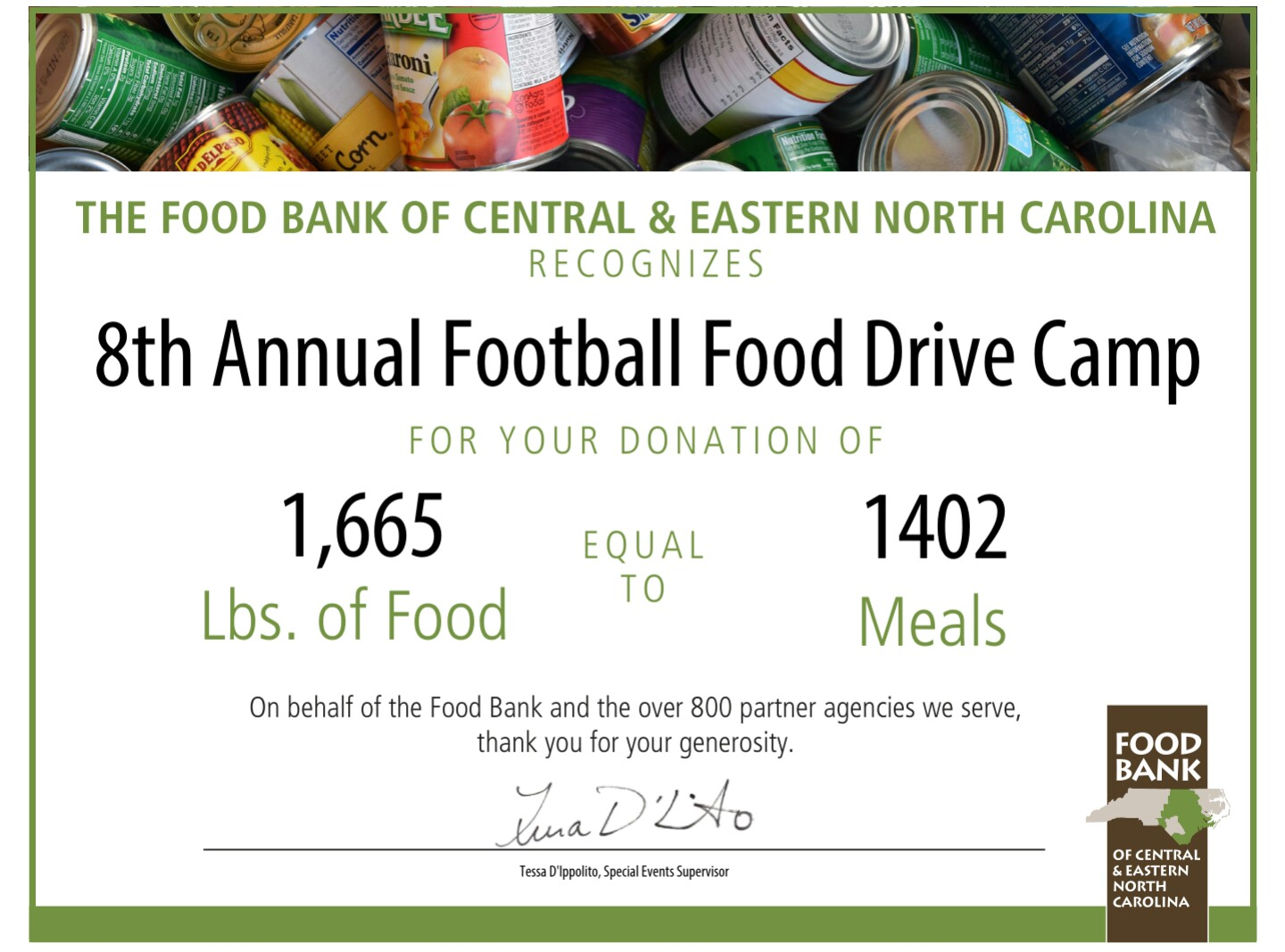 8th Annual Food Drive Certificate