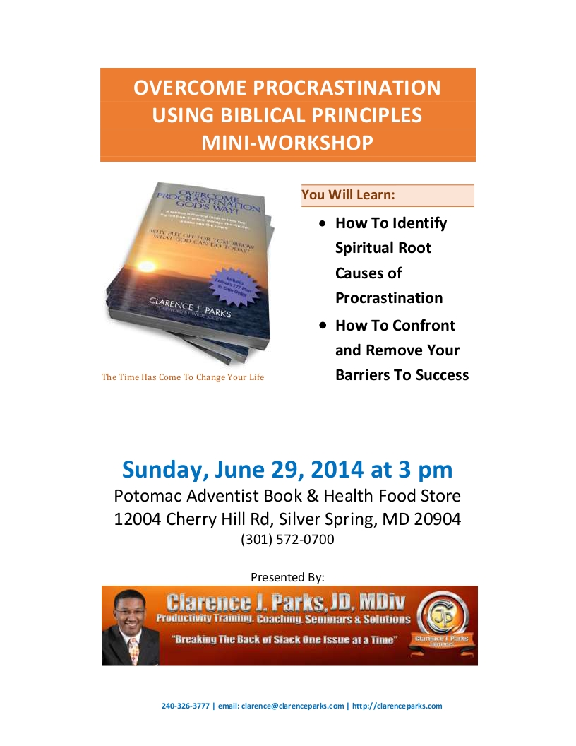 Flyer to Mini-Workshop at Potomac Adventist Bookstore