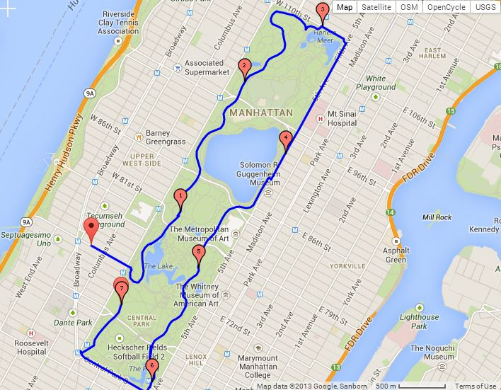 Route for the pre-talk run