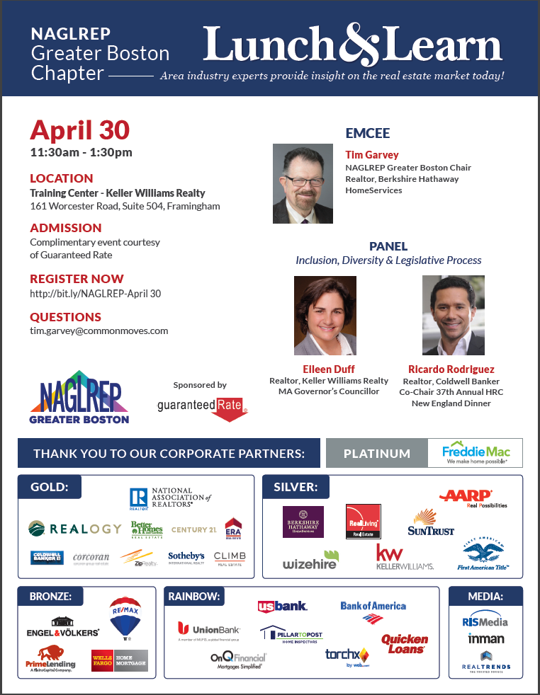 NAGLREP Boston Lunch & Learn April 30