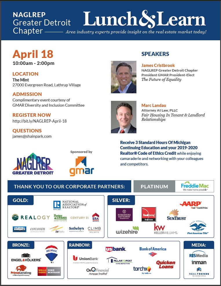 NAGLREP Greater Detroit Lunch & Learn April 18