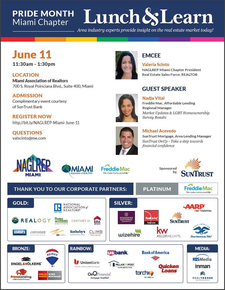 NAGLREP Miami LGBT Pride Lunch & Learn June 11