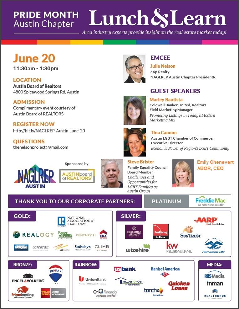 NAGLREP Austin Pride Lunch & Learn June 20