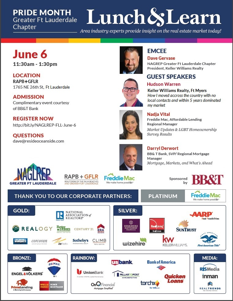 NAGLREP Greater Ft Lauderdale Pride Lunch & Learn June 6