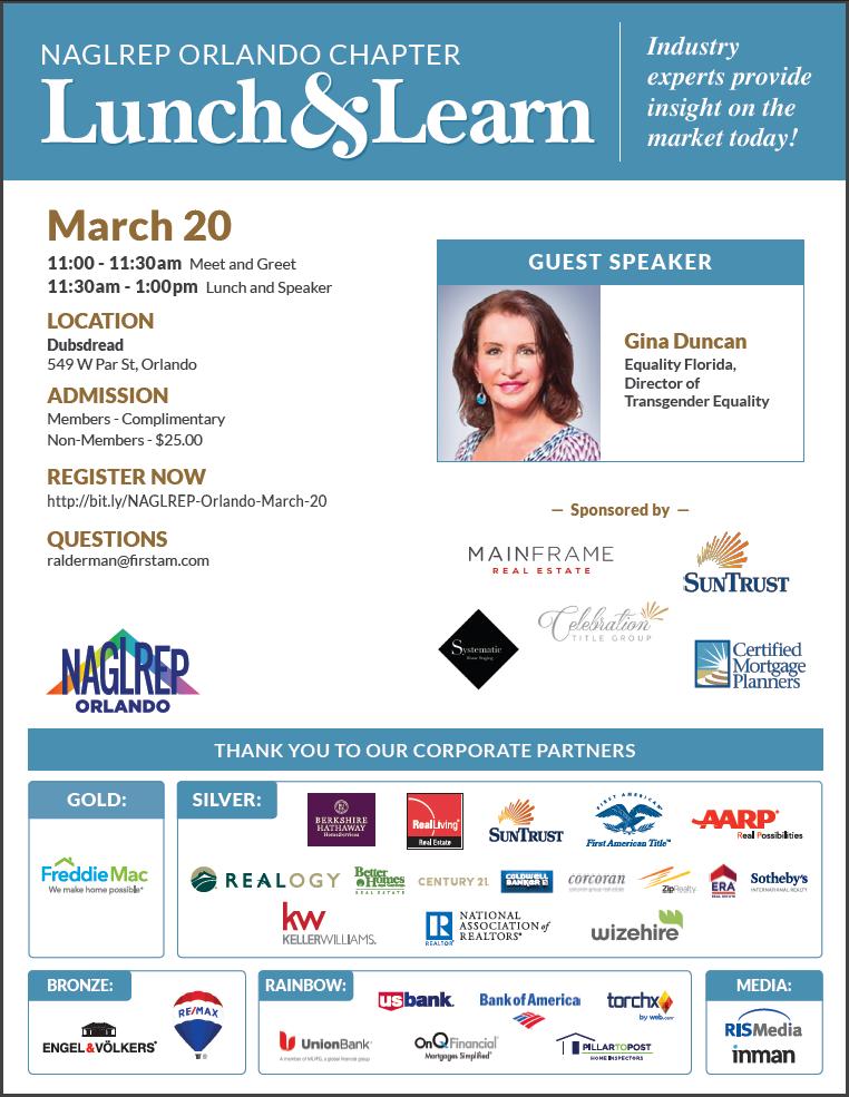 NAGLREP Orlando Lunch & Learn March 20