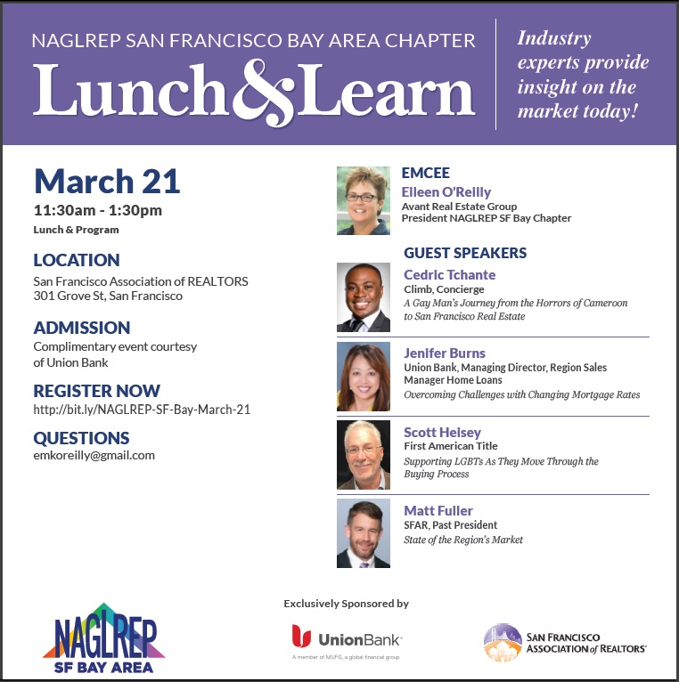 NAGLREP SF Bay Chapter Lunch & Learn March 21