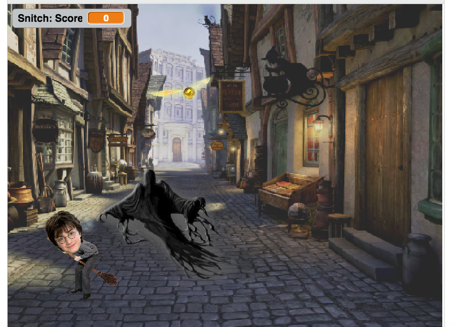Help Harry collect as many Golden Snitches as possible without touching the Dementor!