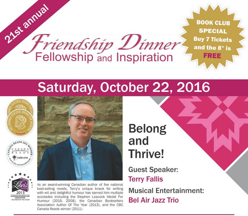Book club special Friendship Dinner Flyer