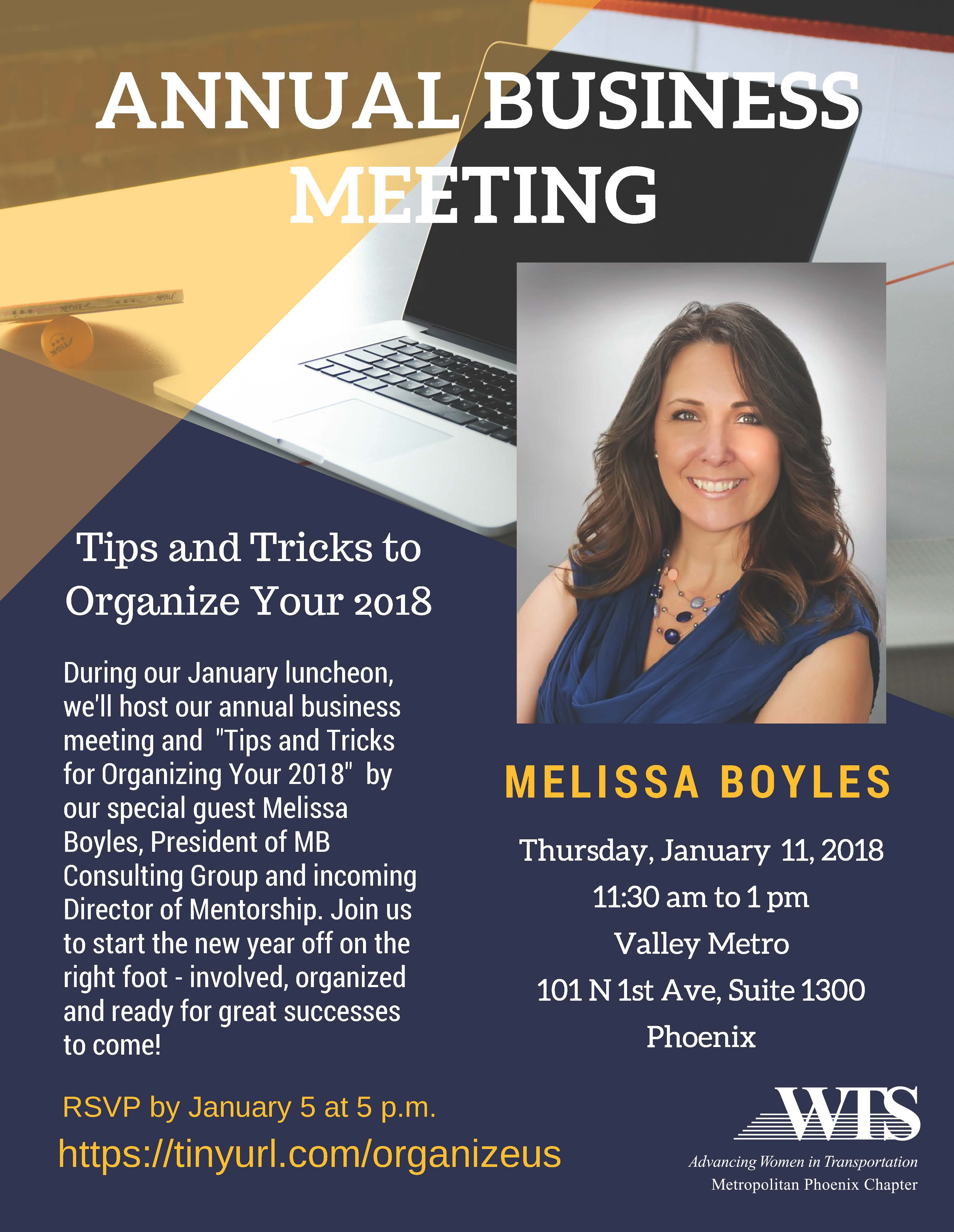 WTS Annual Business Meeting and Tips and Tricks to Organize Your 2018 @ Valley Metro Conference Room | Phoenix | Arizona | United States