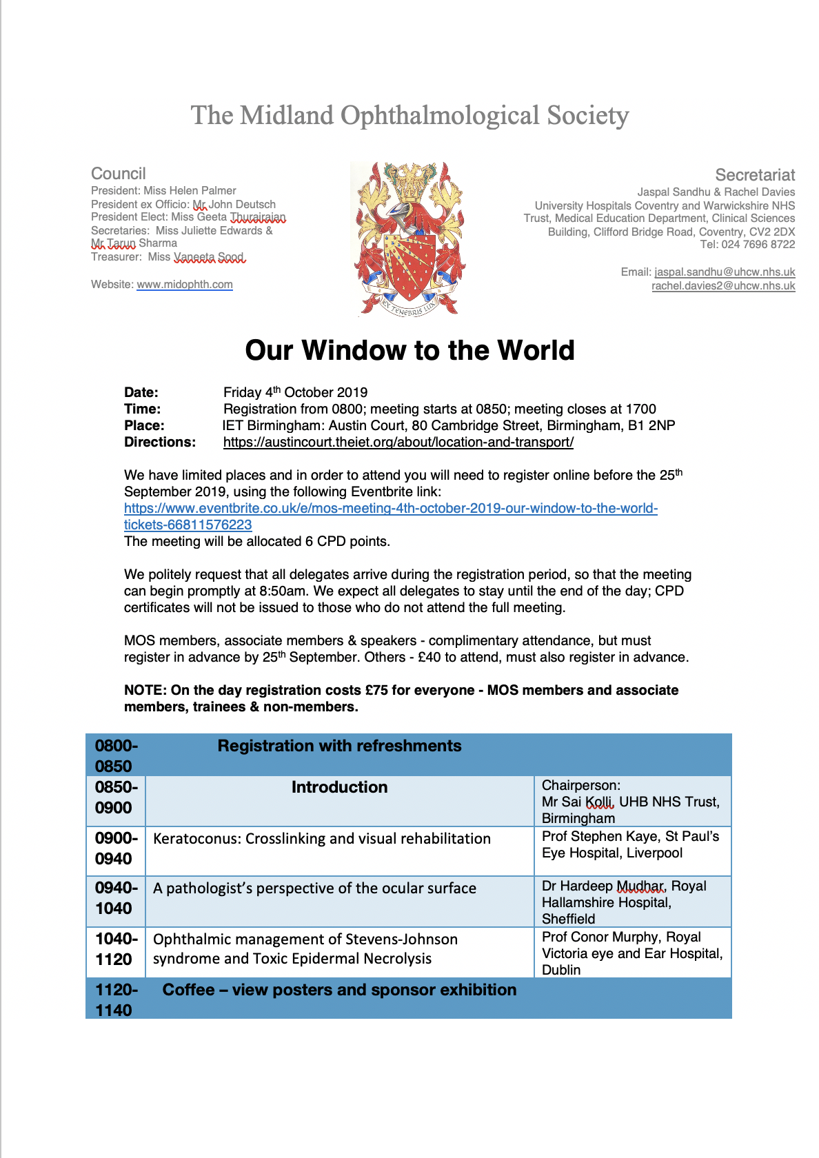 MOS Meeting, 4th October 2019 - Our Window to the World Tickets, Fri