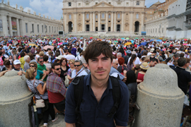 Still of Simon Reeve in Rome from the documentary 'Pilgrimage'