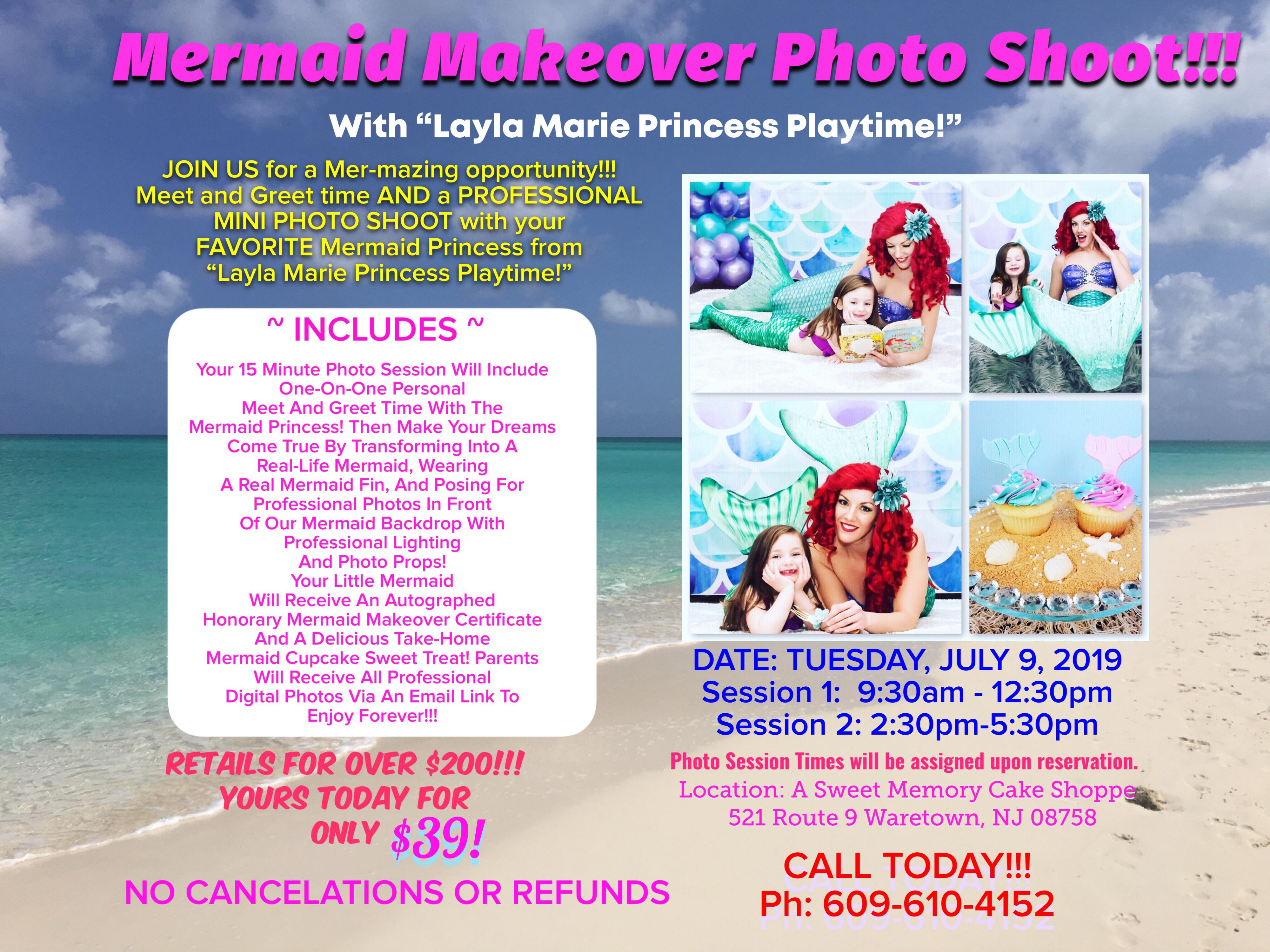 Mermaid Makeover Photo Shoot Flyer July 9, 2019
