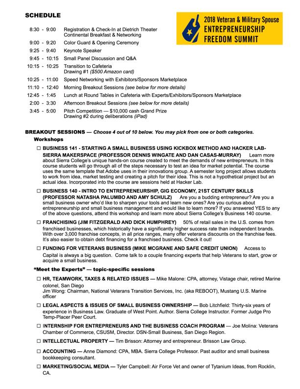 Agenda and Breakout Descriptions