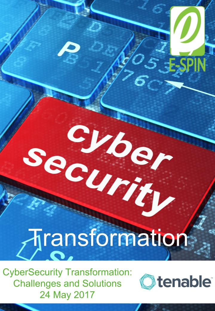 E-SPIN Tenable CyberSecurity Transformation Event Poster