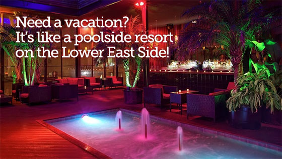 Need a vacation? It's like a poolside resort on the Lower East Side!