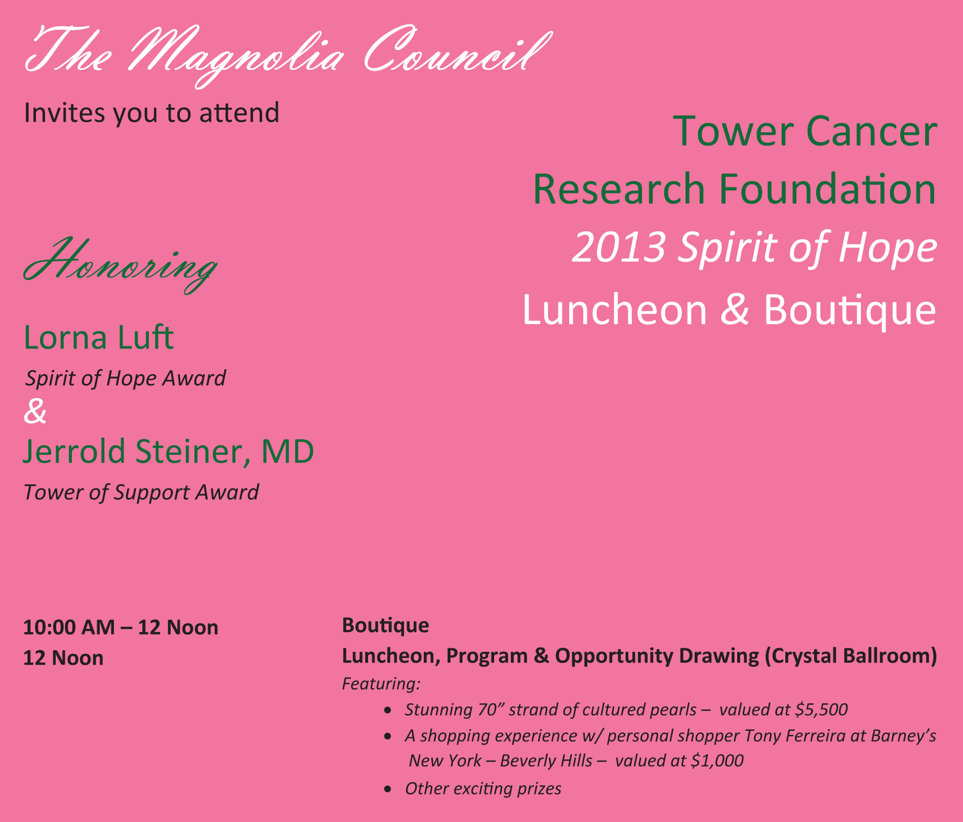 The Magnolia Council invites you to attend...