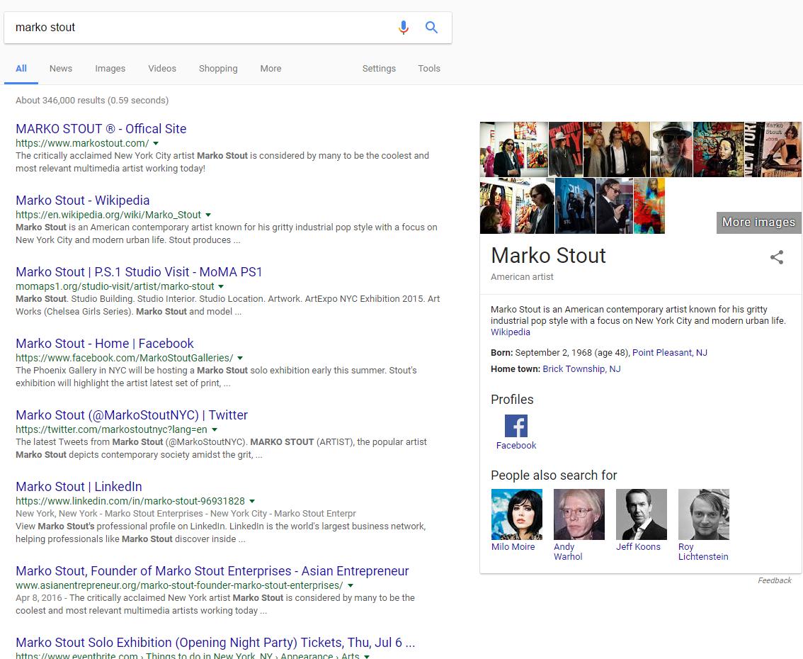 Marko Stout Google Results
