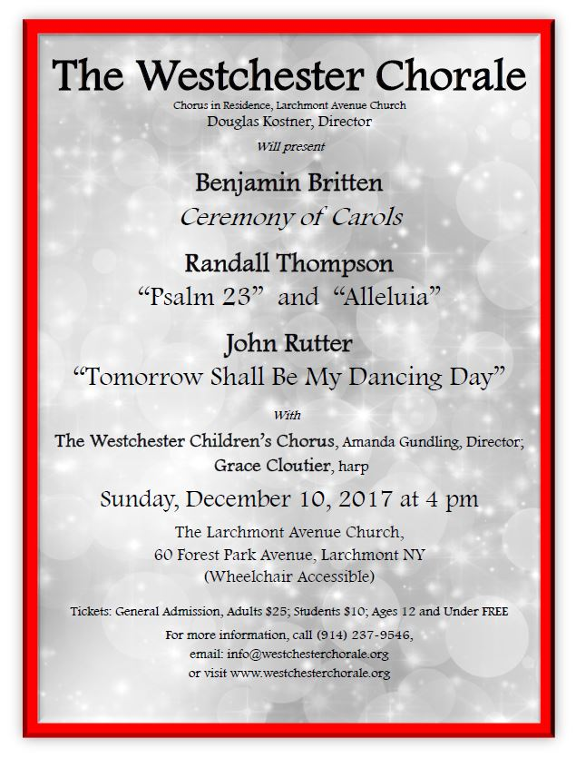 Details for the Westchester Chorale Fall 2017 concert