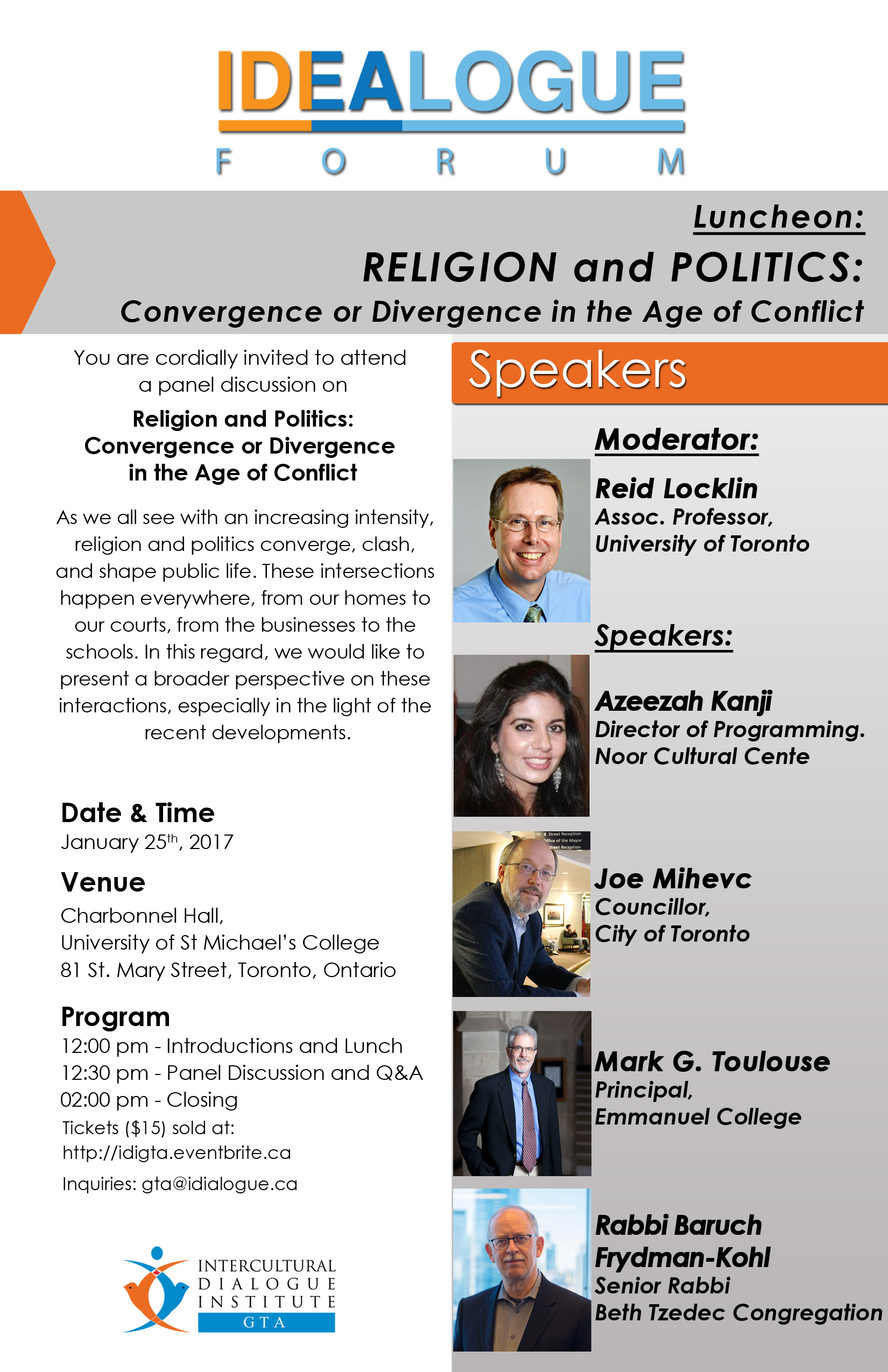 Luncheon: RELIGION and POLITICS: Convergence or Divergence in the Age of Conflict, Intercultural Dialogue Institute, RAbbi Frydman Kohl, Mark Toulouse, Joe Mihevc, Azeezah Kanji