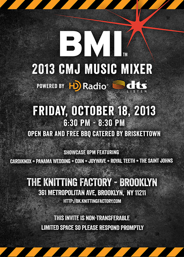 2013 BMI CMJ Music Mixer Evite