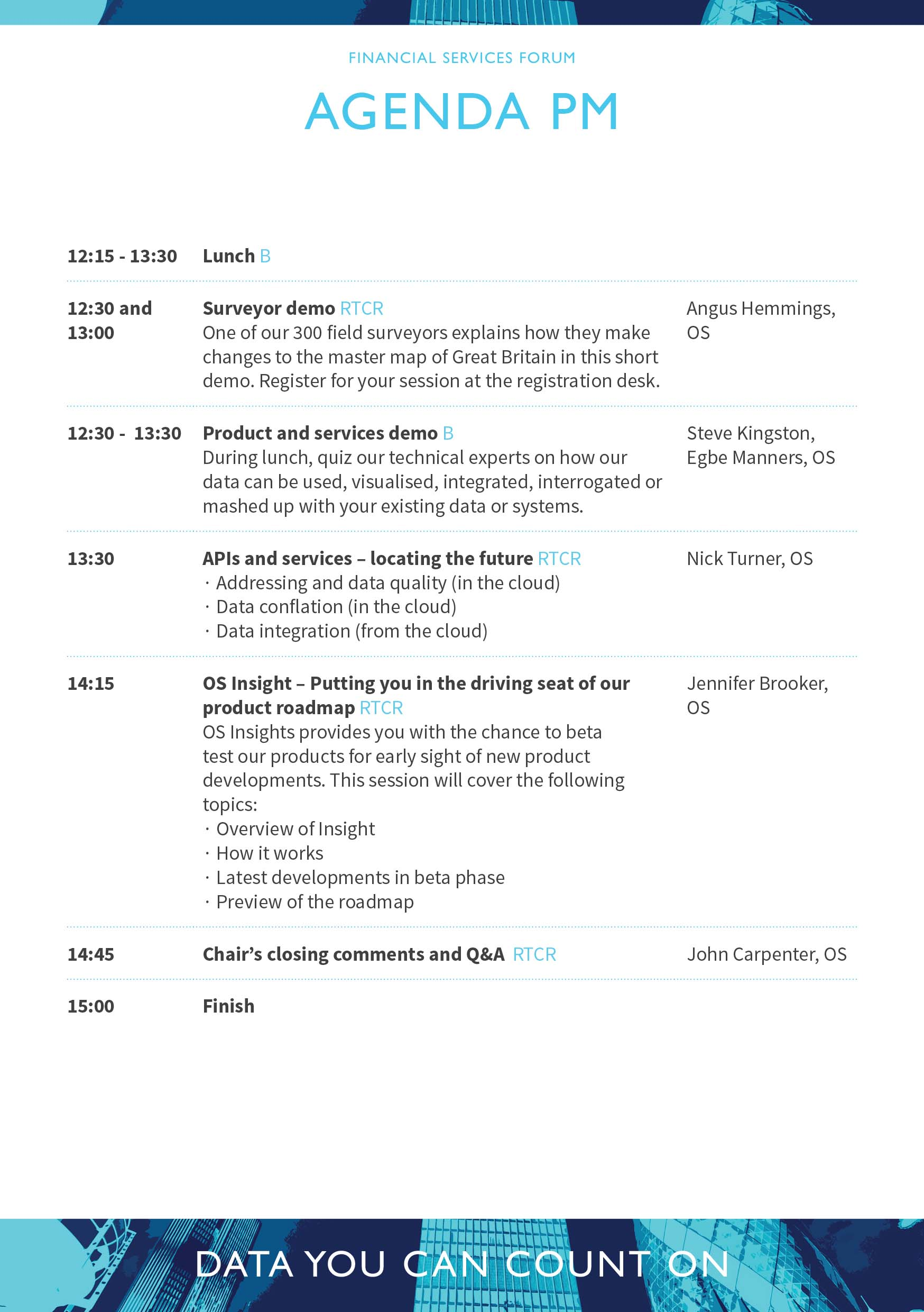 Financial Services Forum Afternoon Agenda