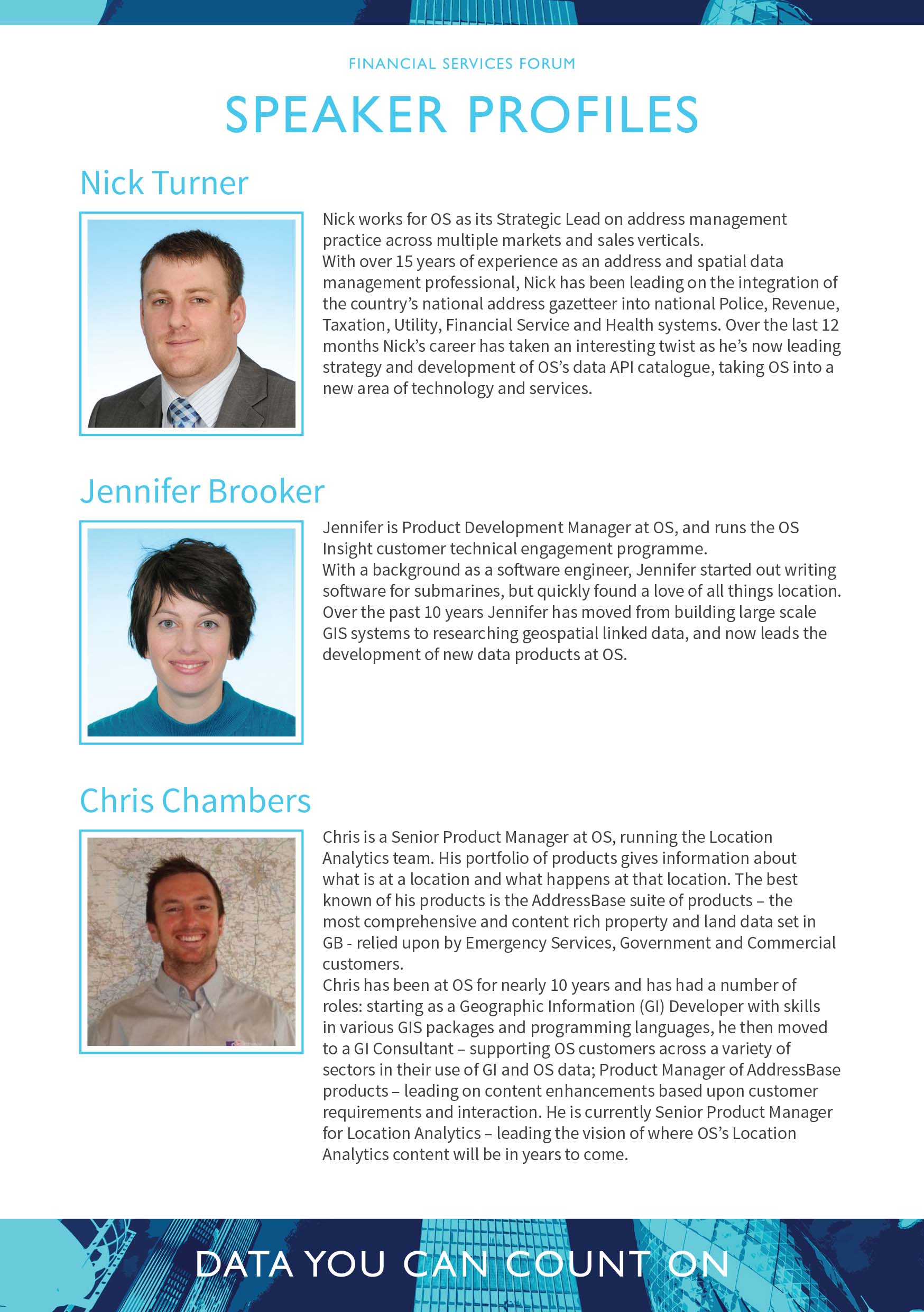 Financial Services Forum Speaker Profiles
