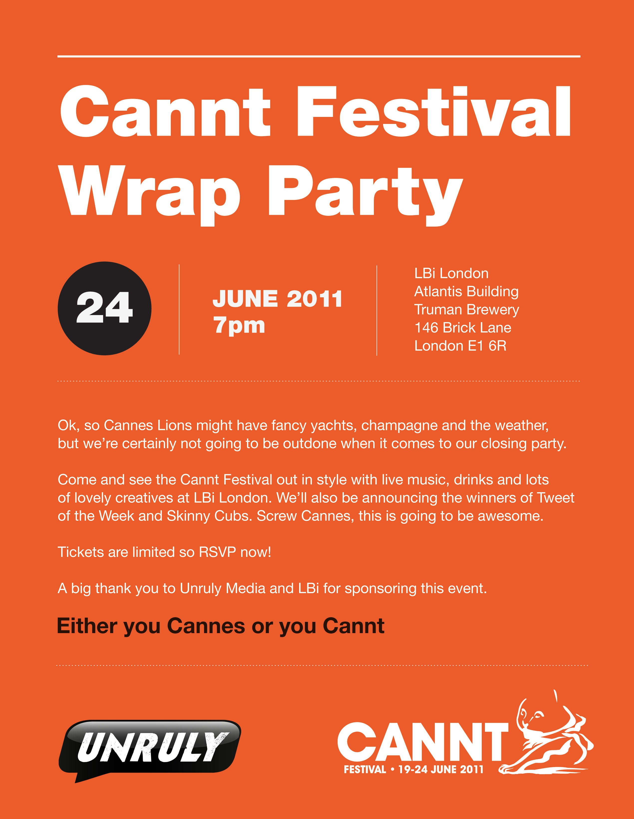 Cannt Closing Party Invite