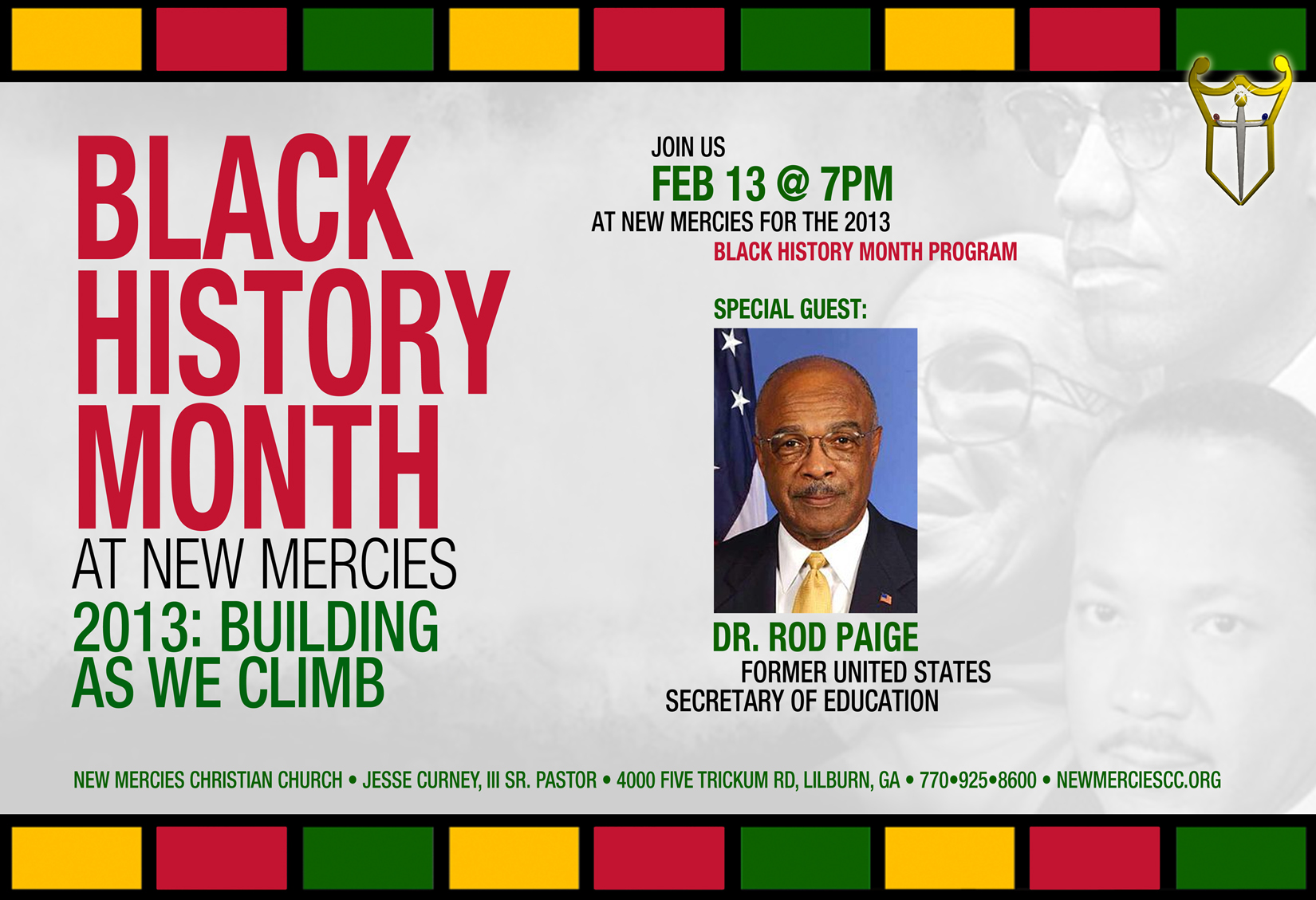U.S. Secretary of Education Rod Paige - 2013 Black History Month Program - New Mercies Christian Church - Lilburn, GA