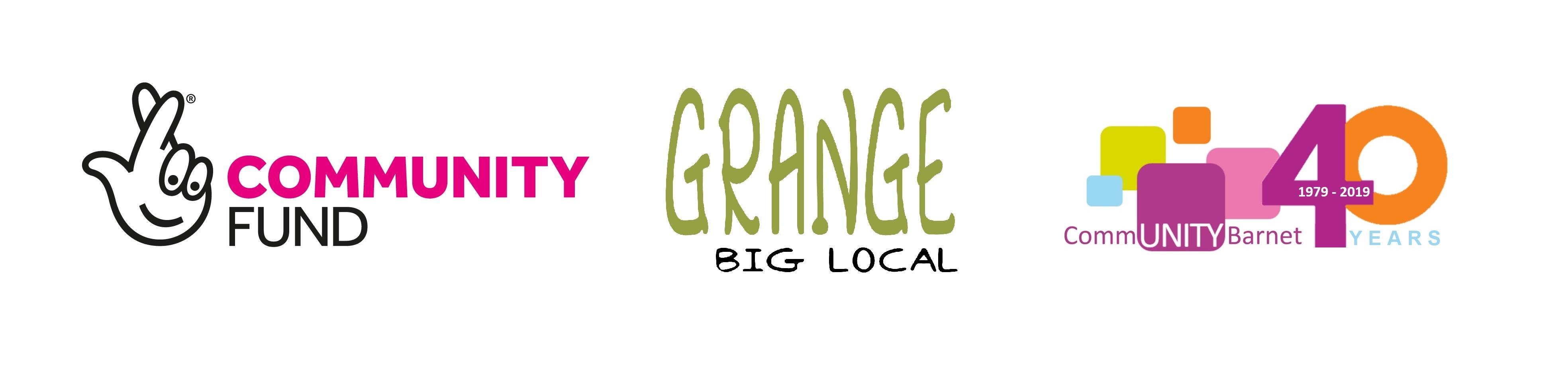 Grange Big Local, Lottery Fund and Community Barnet logos