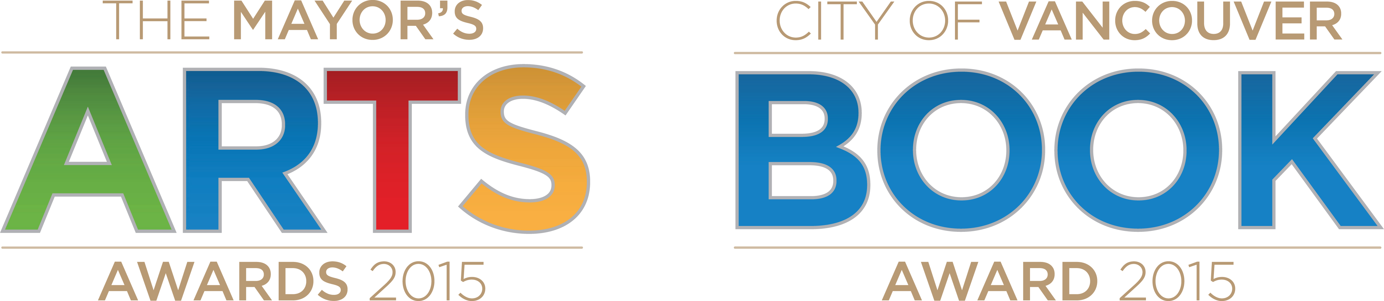A pair of logos for the 2015 City of Vancouver Mayor's Arts Awards & Vancouver Book Award