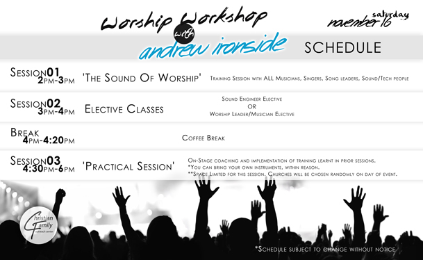 Worship Workshop with Andrew Ironside Schedule