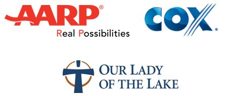 AARP, Cox, Our Lady of the Lake logos