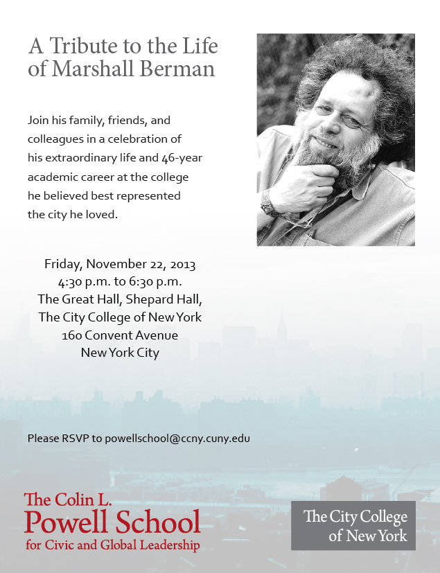 A Tribute to the Life of Marshall Berman
