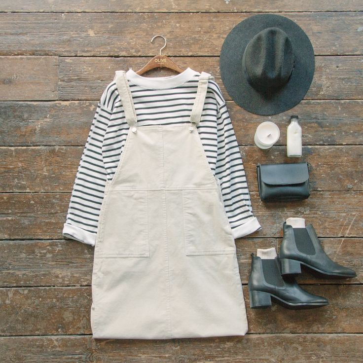 winter white Dungaree dress