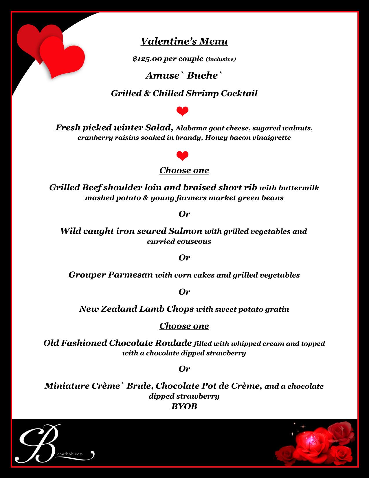 Valentine 39 s day dinner by chef bob tickets tue feb 14 for Romantic valentine dinner menu ideas