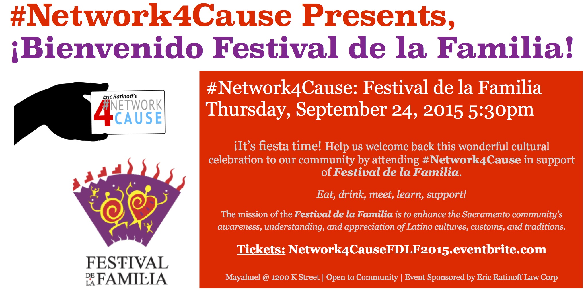 Register for Festival de la Familia's 2015 Community #Network4Cause on Eventbrite