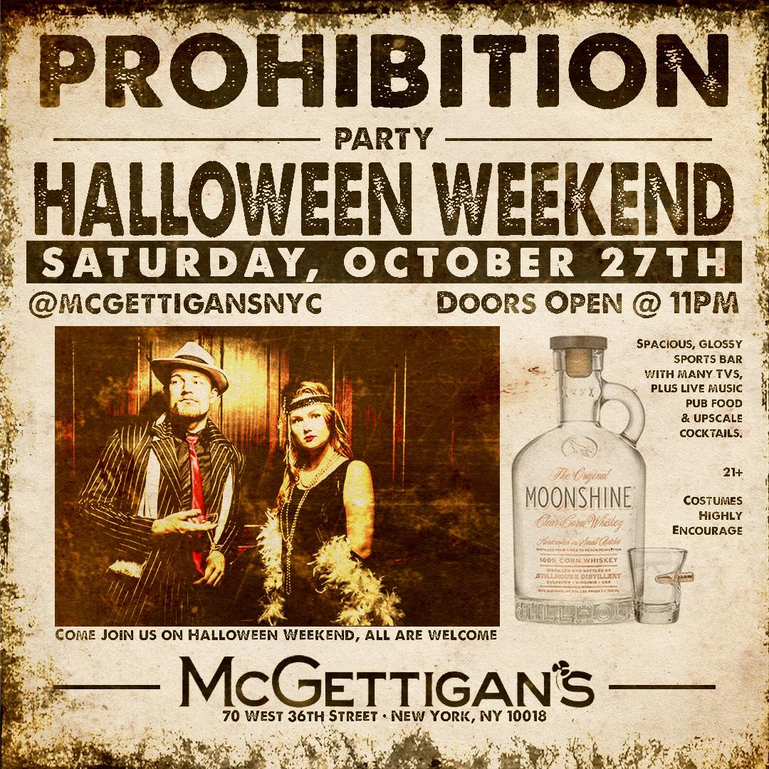 prohibition era halloween party @ mcgettigan's tickets, sat, oct 27