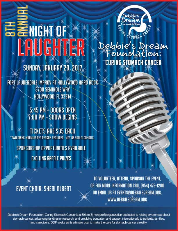 Join us as we laugh for a cure at DDF's 8th Annual Night of Laughter.  The night will feature hilarious comedy, delicious drinks and more.  Location:Fort Lauderdale Improv   5700 Seminole Way   Fort Lauderdale, FL  33314  Chair:  Sheri Albert