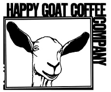 Picture of goat with words Happy Goat Coffee Company