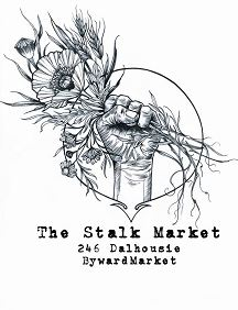 Stalk Market logo of fist holding flowers