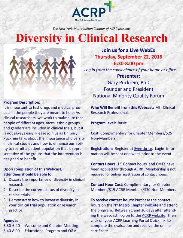 Diversity in Clincal Trials 22Sep2016