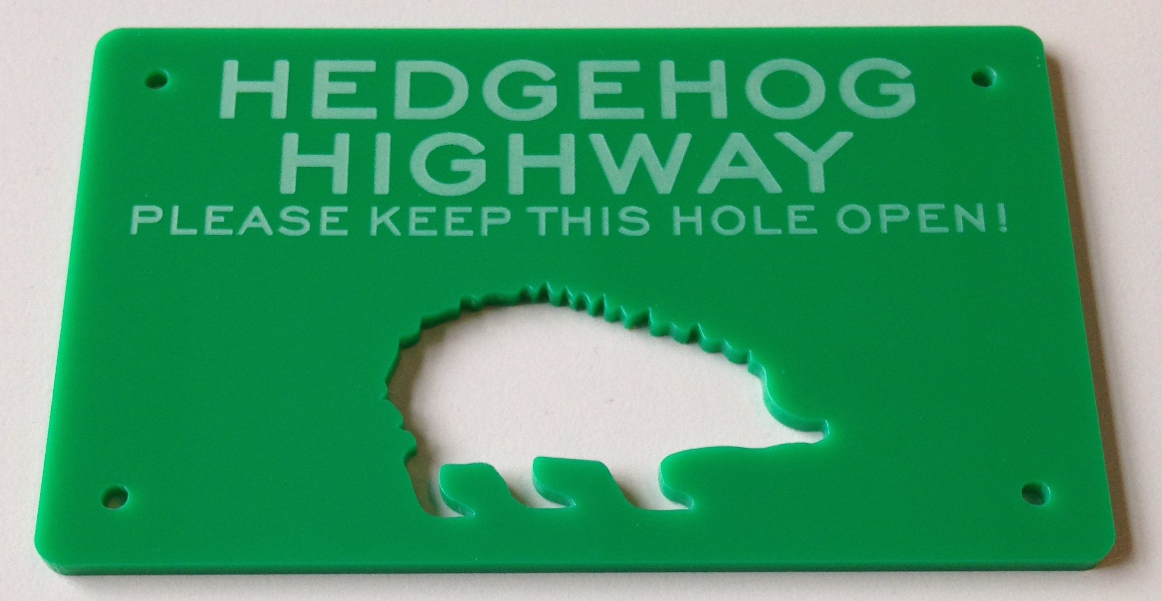 Get this free hedgehog highway marker in your goodie bag - made from recycled plastic - pin it to your fence to mark your hedgehog highway for posterity