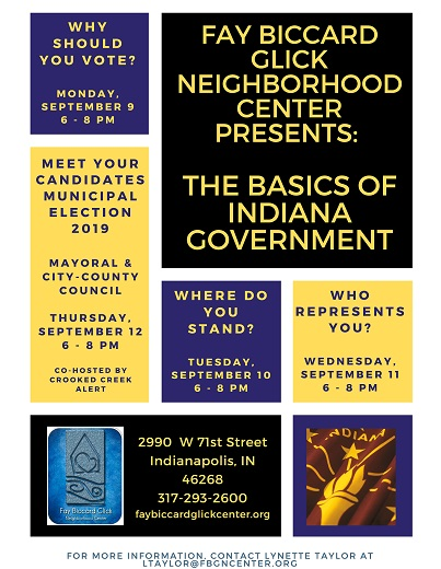 a flyer listing the dates and topics of the Basics of Indiana Government forum