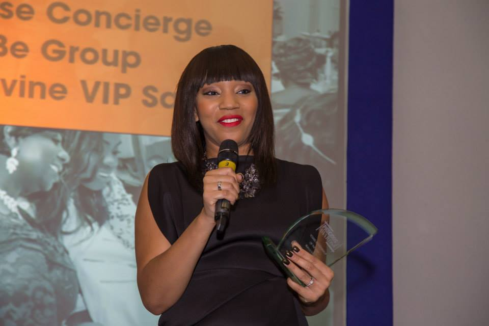 Bianca Miller with her Young Entrepreneur of the Year Award