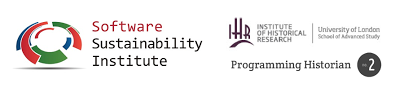 Logos of Software Sustainability Institute, Institute of Historical Research, Programming Historian 2