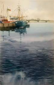 Watercolour of boats by Claudia Araceli