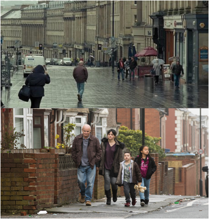 Scenes of the film in Newcastle