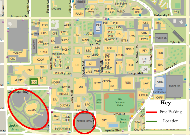 This image is shown in order for people attending to know where to park for free as well to know where the event is located on the ASU Tempe Campus